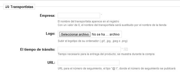 Definir URL de seguimiento del transportista en Prestashop