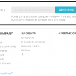 ¿Está el newsletter en el DisplayFooter en Prestashop 1.7?