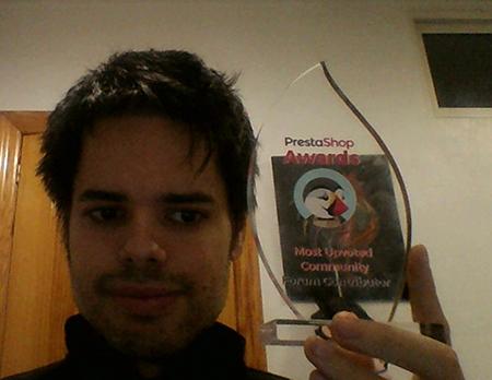 Premio recibido por parte del Equipo de Prestashop como contribuidor mas valorado de la Comunidad de Prestashop