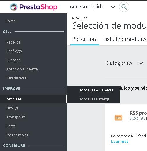 Acceder módulos en Prestashop 1.7