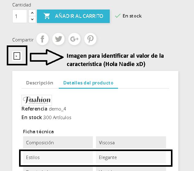 Visualización icono de la característica en Prestashop 1.7