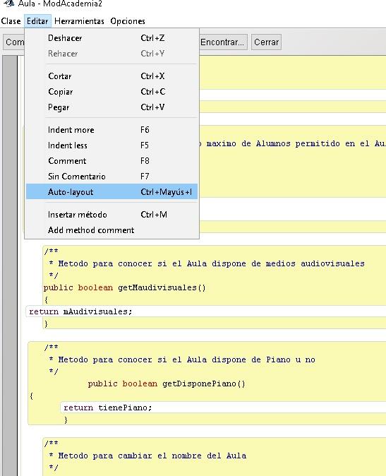 Tabular código en BlueJ