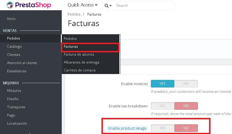 Añadir imágenes de los Productos en las facturas en Prestashop 1.7