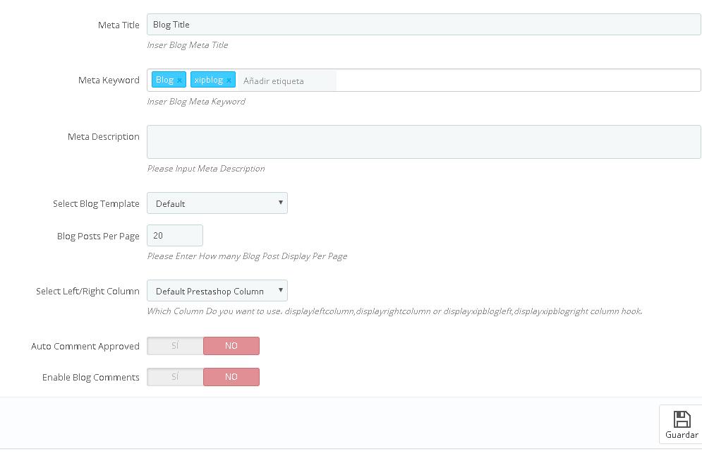 Opciones generales del módulo Blog para Prestashop 1.7