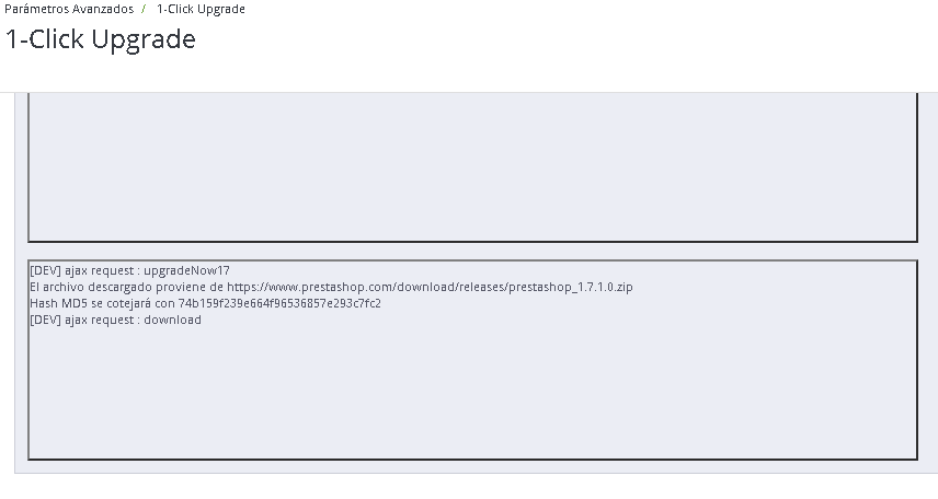 Iniciado el proceso de actualización de Prestashop 1.6 a Prestashop 1.7.1.0