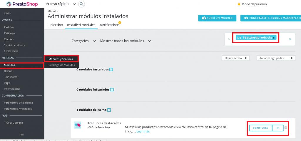 Entrando en la configuración del módulo de productos destacados en Prestashop 1.7