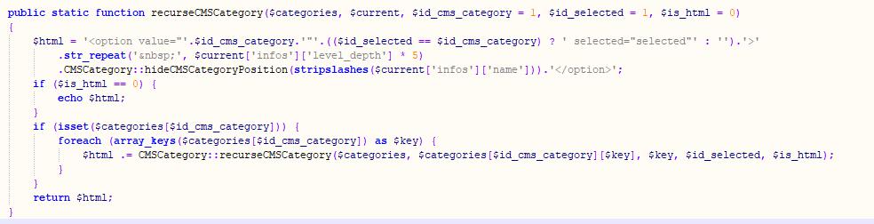 Función recurseCMSCategory