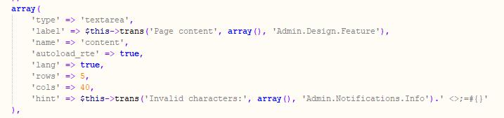 Código campo textarea