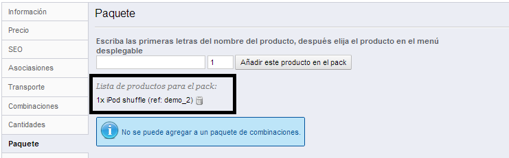productopaquete