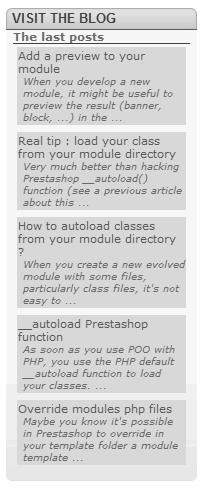 Mostrar últimas entradas de wordpress en Prestashop
