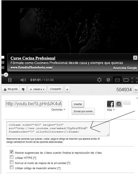 Obtener código del vídeo del youtube que luego queremos añadir en Prestashop