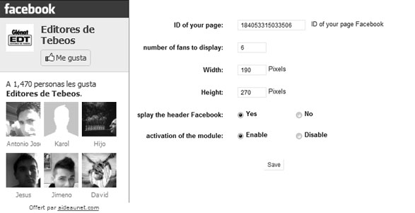 Widget de Facebook en Prestashop