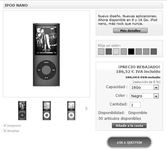 Botón solicitar información del producto en Prestashop