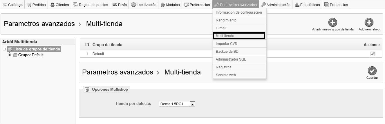 Acceder a la configuración multitienda de Prestashop