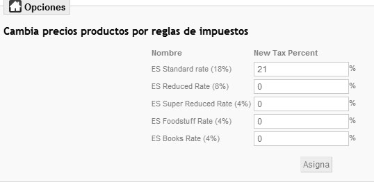 Configuración módulo que cambia los precios de los productos por reglas de impuestos