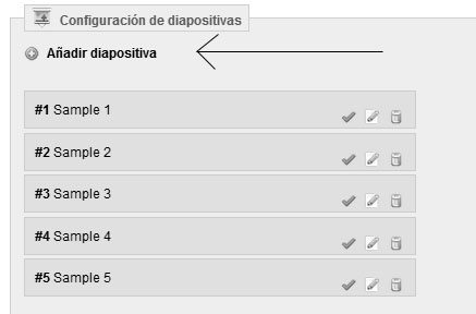 Listado diapositivas  (elementos slider)