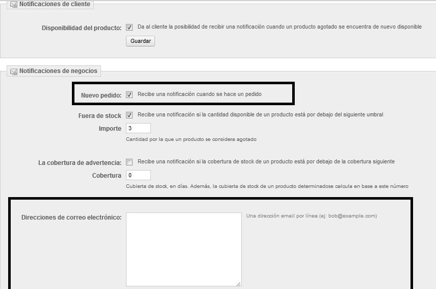 Pantalla de configuración del módulo para habilitar entre otras alertas las alertas de los pedidos.