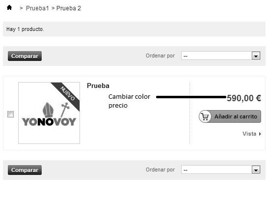 Color precio listado productos en Prestashop 1.5