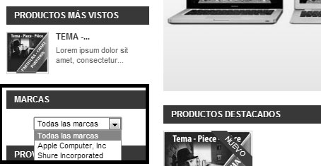 Lista desplegable bloque marcas en Prestashop