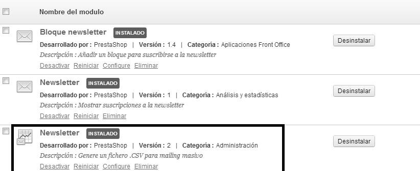 Configurar modulo newsletter Prestashop 1.5