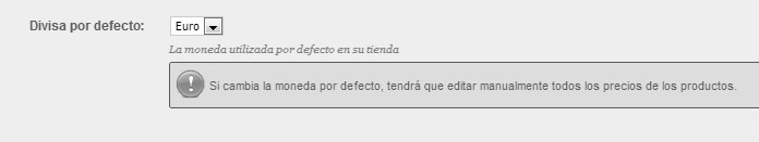 Configurar moneda por defecto en Prestashop