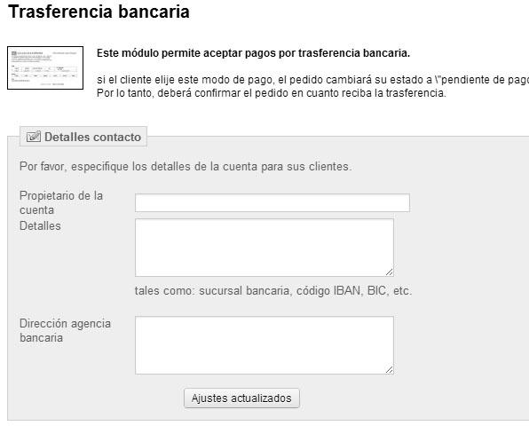 Configuración transferencia bancaria en Prestashop