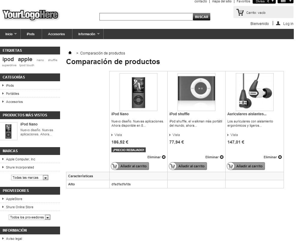 Comparador de productos sin columna derecha en Prestashop
