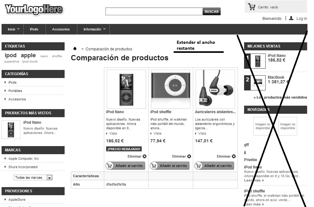 Quitar columna derecha en el comparador de productos de Prestashop