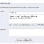 """Añadir código html en el campo """"detalles"""" del módulo de transferencia bancaria en Prestashop"""