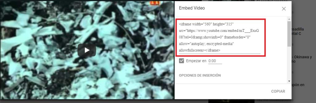 Obtener código iframe youtube - parte 2