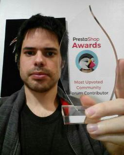 Premio recibido por parte del Equipo de Prestashop como contribuidor más valorado de la Comunidad de Prestashop