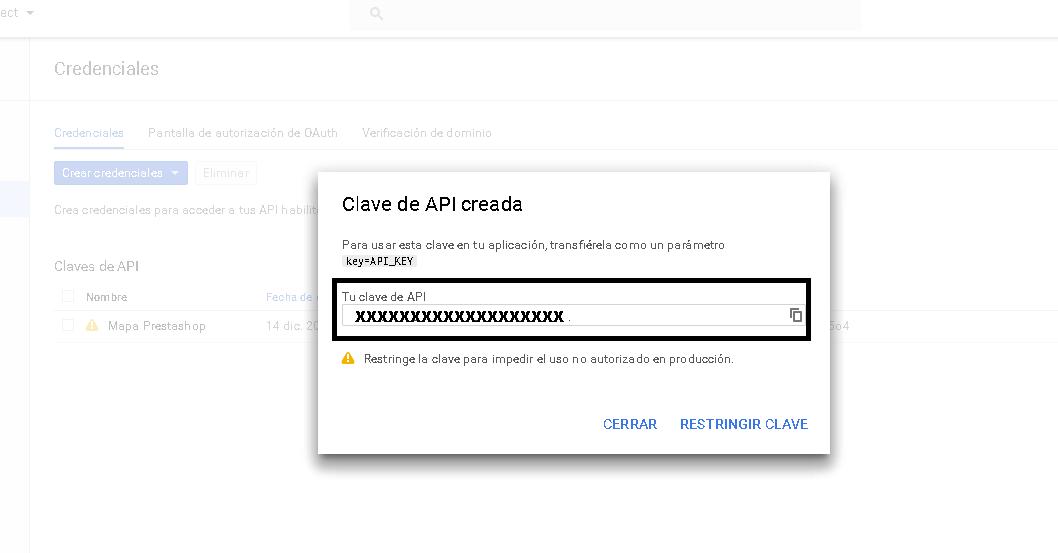Copiar clave de la API