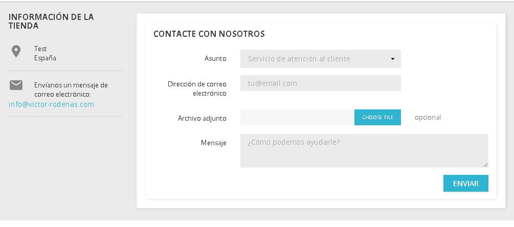 Página del formulario de contacto en Prestashop 1.7