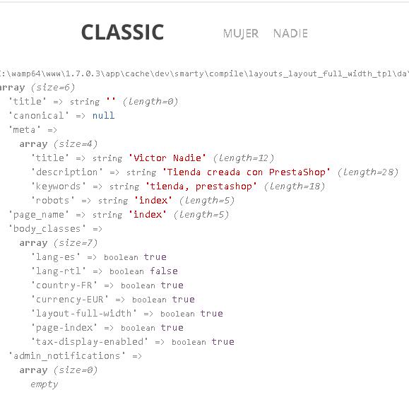Variables globales de las páginas en Prestashop 1.7