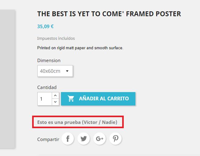 Añadir información complementaria en la ficha del producto en Prestashop
