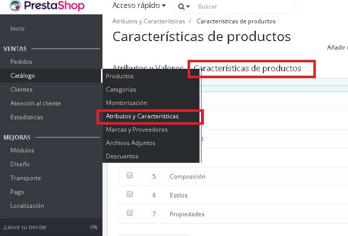 Accediendo a la gestión de atributos y características en Prestashop 1.7