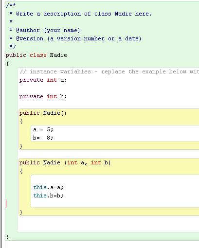 Constructores en Java con BlueJ