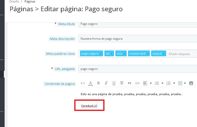 Ficha del producto en contenidos en Prestashop 1.7