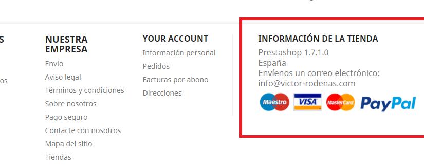 Añadir logos de pago en el pie de página de Prestashop 1.7