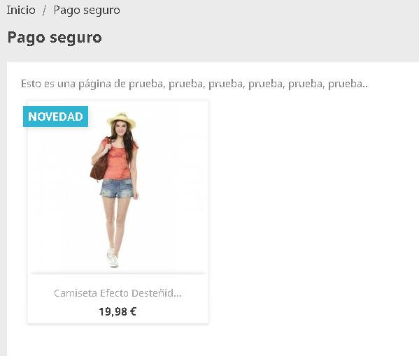 Visualización del producto en una página de contenidos (cms)