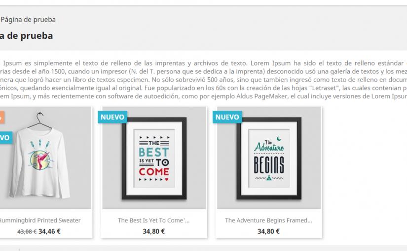 Visualizar productos en una página de contenidos