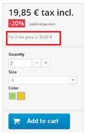 Mostrar total del precio del producto en base a la cantidad de productos seleccionados en Prestashop en la ficha del producto.