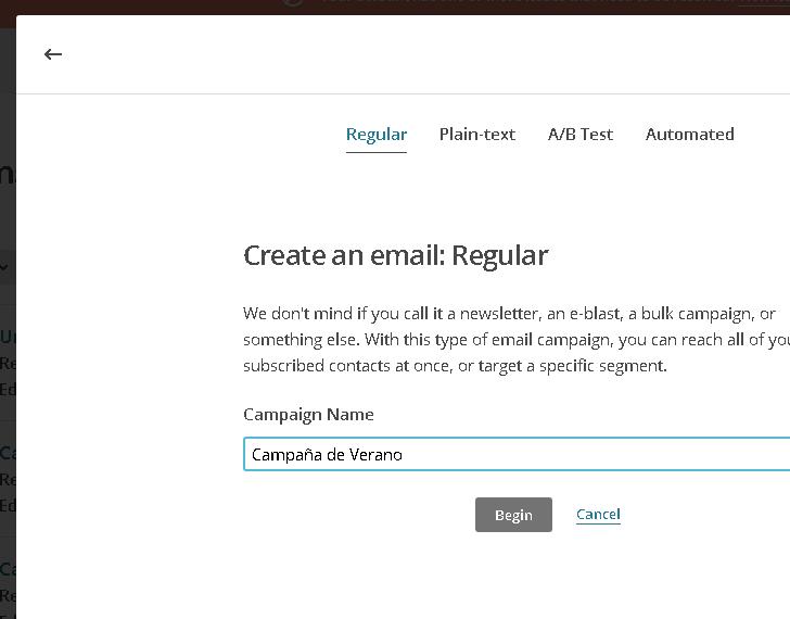 Definir nombre de Campaña en Mailchimp