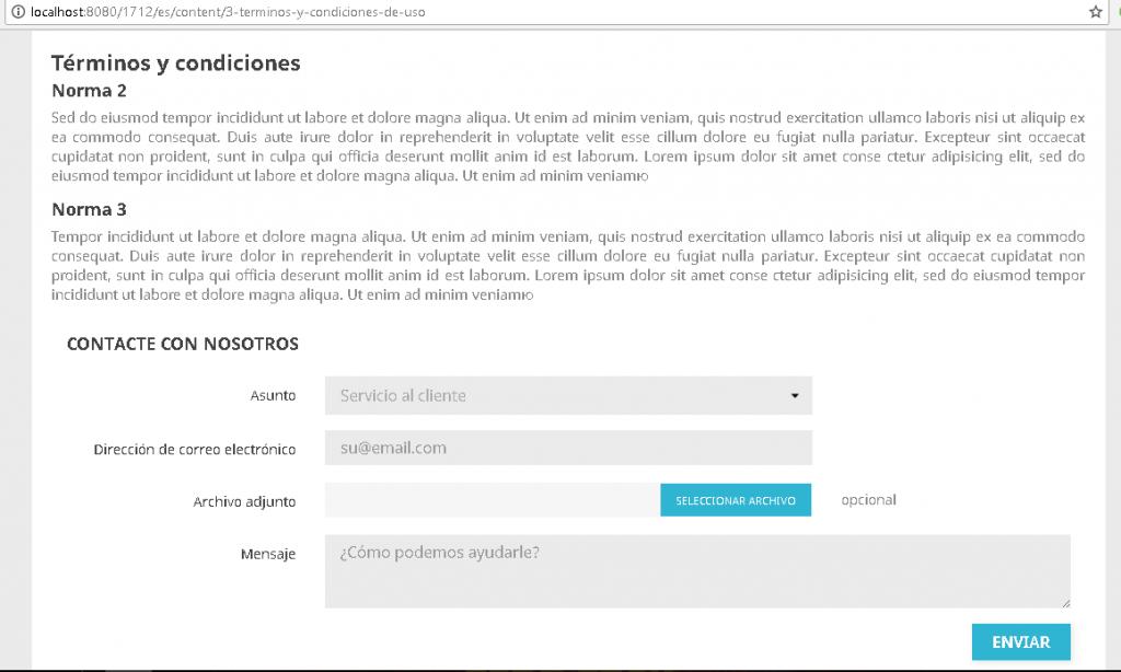 Formulario de contacto en una página de contenidos