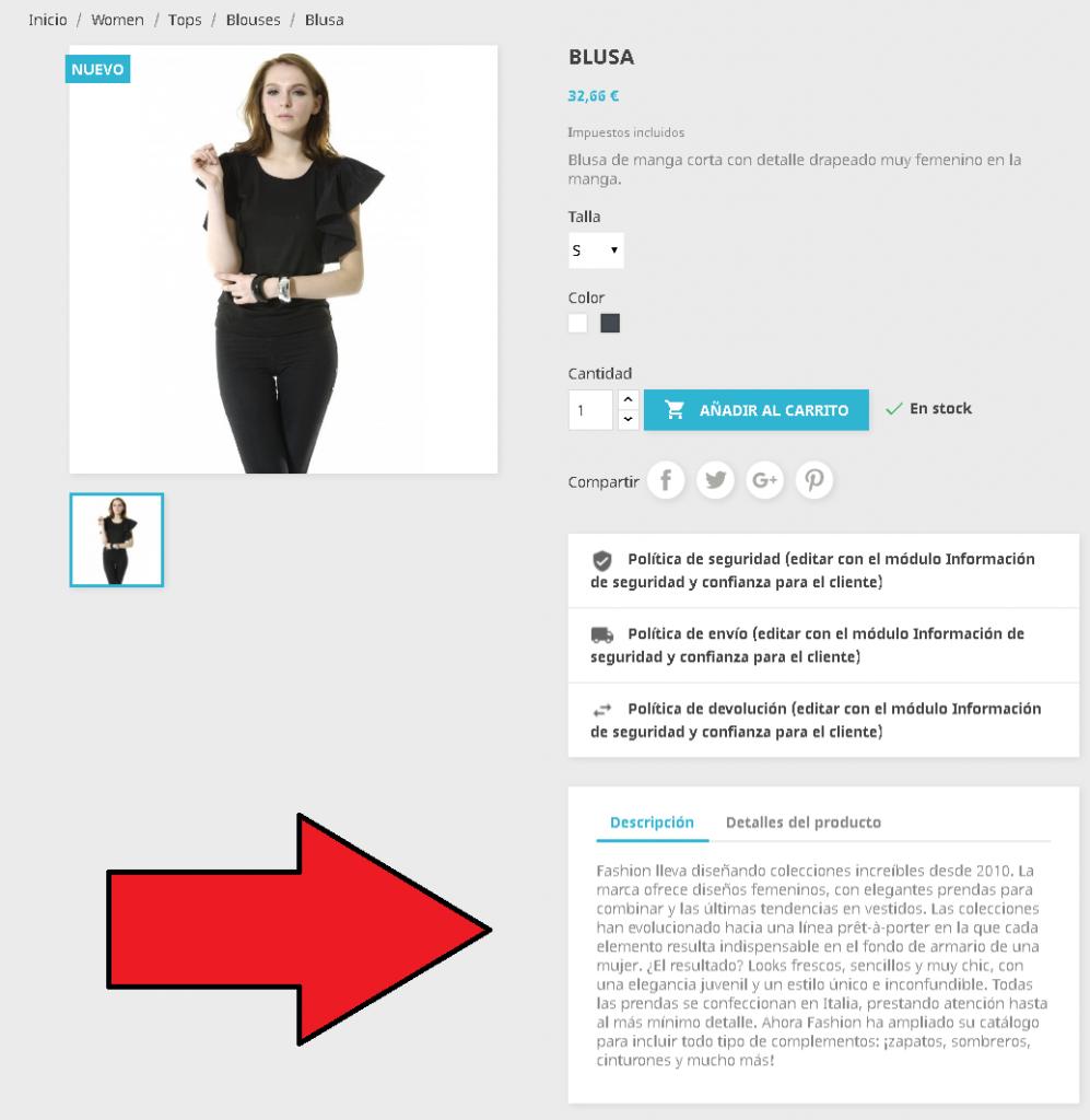 Cambiar ubicación de las pestañas del producto en Prestashop 1.7