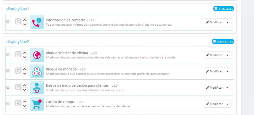 Posición módulos displayNav1 y displayNav2