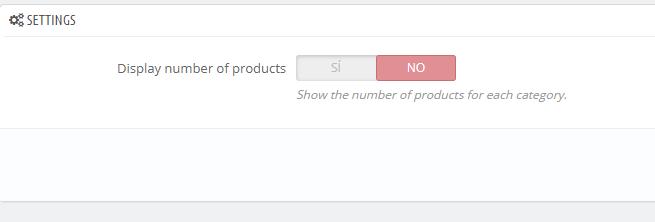 Configuración del módulo - Mostrar número de productos