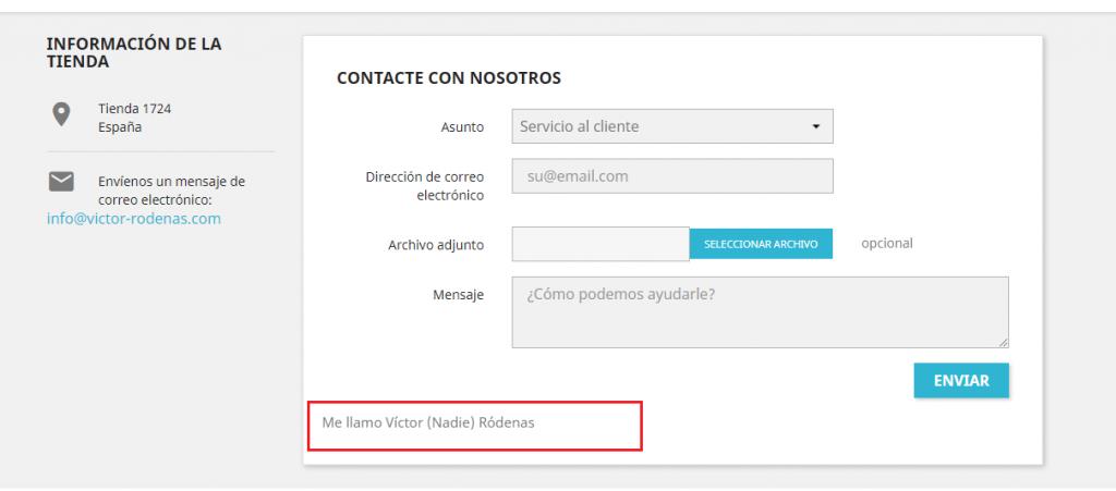 Mensaje formulario de contacto