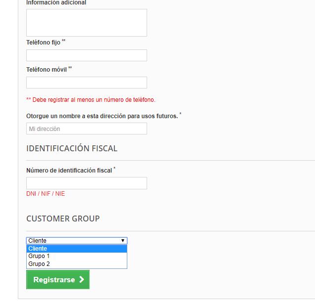 Elegir grupo clientes en formulario registro de Prestashop
