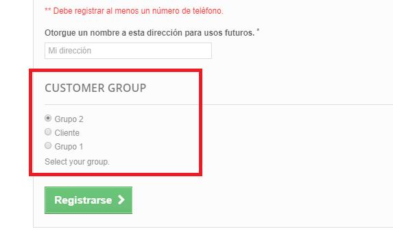 Grupos en el formulario de registro